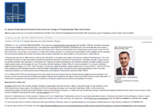 Dr. Sameet Sheth is the new President of the American College of Prosthodontists (ACP) New York Section